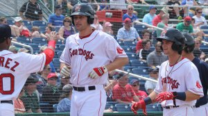 Nate Freiman and Andrew Benintendi after first-inning homer