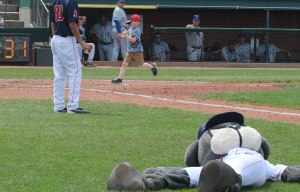 Slugger down-and-out as kid crosses home