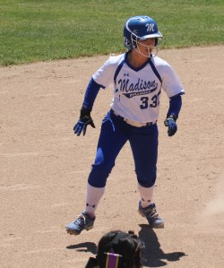 Madeline Wood caught rounding second