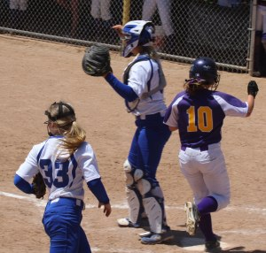 Eliza Hosford crosses home with Bucksport's run in the 4th inning