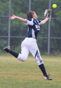 Centerfielder Kaley Moran chases a fly ball