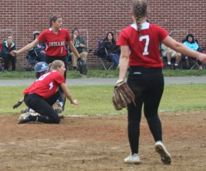 Abby Duggan thrown out at third in the top of the fifth