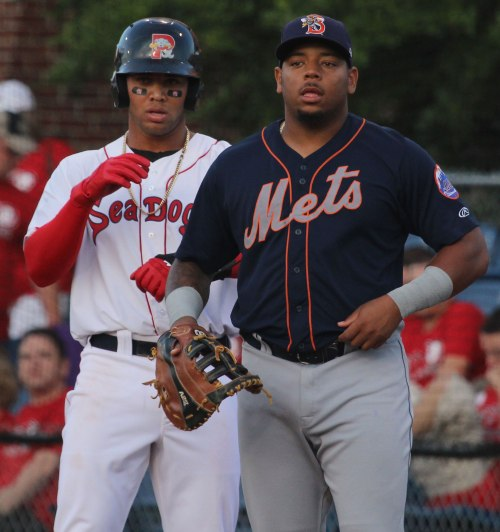 Top prospects Yoan Moncada (Boston Red Sox) and Dominic Smith (New York Mets) together at Hadlock Field