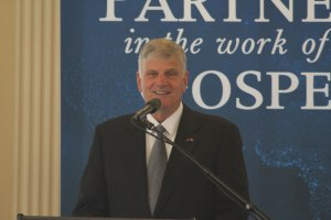 Franklin Graham spoke at the reception and on the Boston Common later