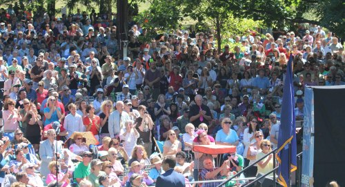 Part of the estimated crowd of 3,200 listening to Franklin Graham at Capitol Park (Augusta ME)