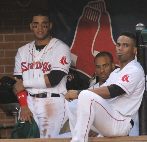 Yoan Moncada (left) and Aneury Tavaraz (right) in the Portland dugout
