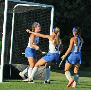 Kaitlyn Plummer congratulated by Julia Murch after 2nd goal