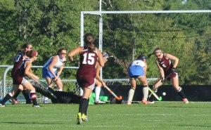 Isabelle Bachelder (5) prevents a LR goal in the first half