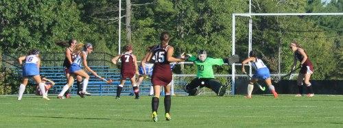 Greely goalie Kylie Rogers blocks a shot