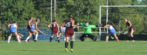 Greely goalie Kylie Rogers blocks a shot