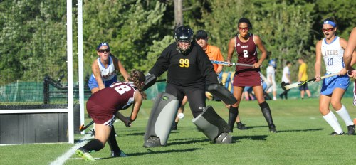 Ella Novick (18) fires from close in at LR goalie Maddie Nelson