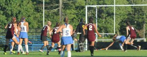 Maddy Perfetti (3) watches as her shot eludes the LR defense for the tying goal
