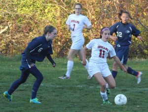 Cape Ann League All-Star Emma DiPietro (11) looks to pass