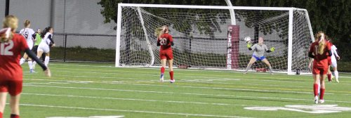 Newburyport shot coming in on Tewskbury GK Leanne Durham