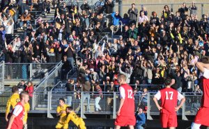 Nauset crowd erupts after James McCully's go-ahead goal in the second half