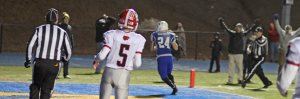 Michael Garner (24) in the end zone with his second TD reception of the final quarter